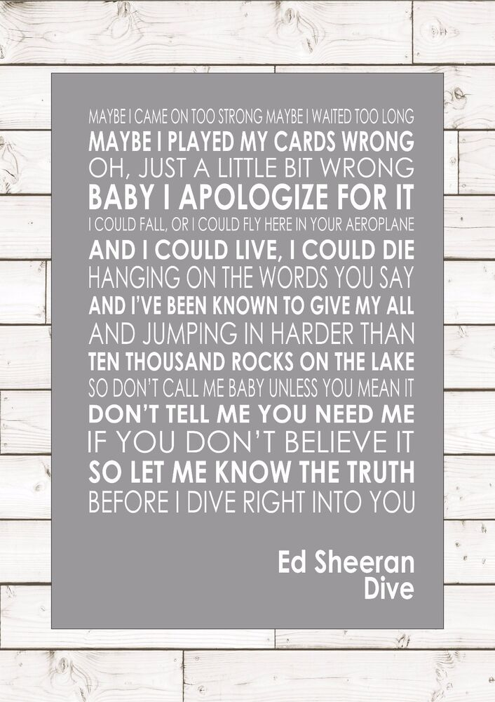 Dive ed sheeran word typography words song lyric lyrics music wall ebay - Ed sheeran dive lyrics ...