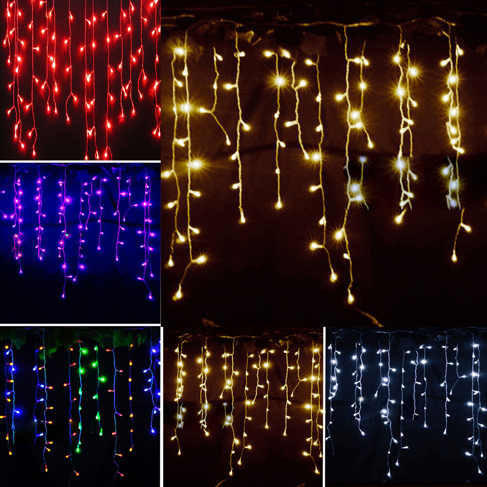 Icicle Hanging Snowing Fairy Lights Curtain Christmas