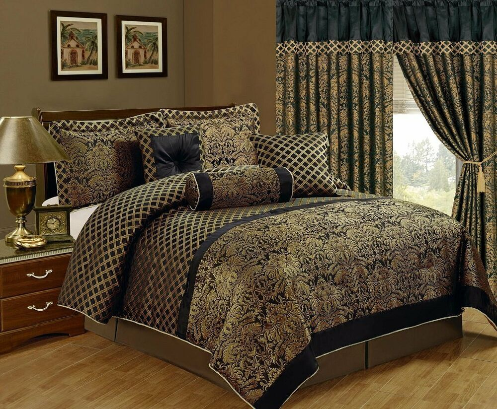 Queen Cal King Bed Black Gold Floral Damask Lattice 7 Pc