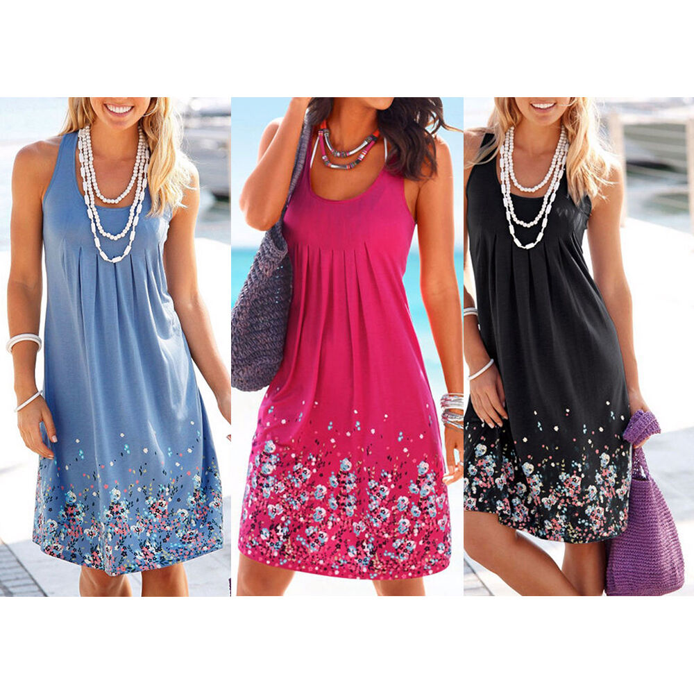 Women's Boho Floral Sleeveless Sundress Ladies Summer