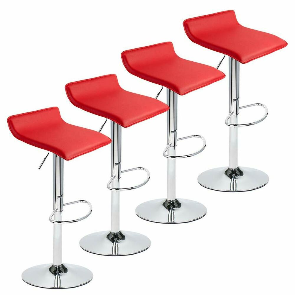 Ebay Bar: Set Of 4 Bar Stools PU Leather Adjustable Swivel Pub Chair