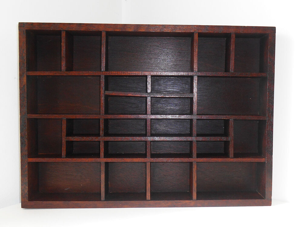 vintage dark wood display case curio wall cubby shelf 25 slots shadow box ebay. Black Bedroom Furniture Sets. Home Design Ideas
