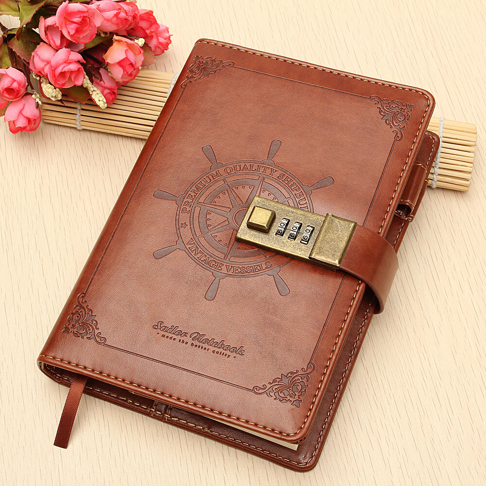 Password Journal Just 19 97: Vintage Brown Leather B6 Journal Wired Diary Note Book