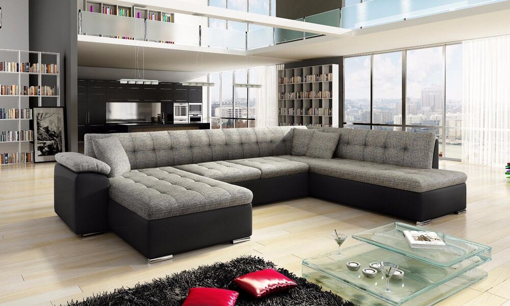 New Scafati Fabric And Leather Corner U-shaped Sofa With Bed In Black Grey  White