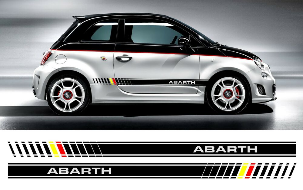fiat 500 abarth bi color custom side stripe decal stickers ebay. Black Bedroom Furniture Sets. Home Design Ideas