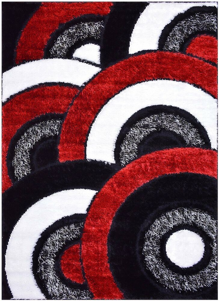 Black white red circles shag area rugs shaggy rug modern for Red area rugs contemporary