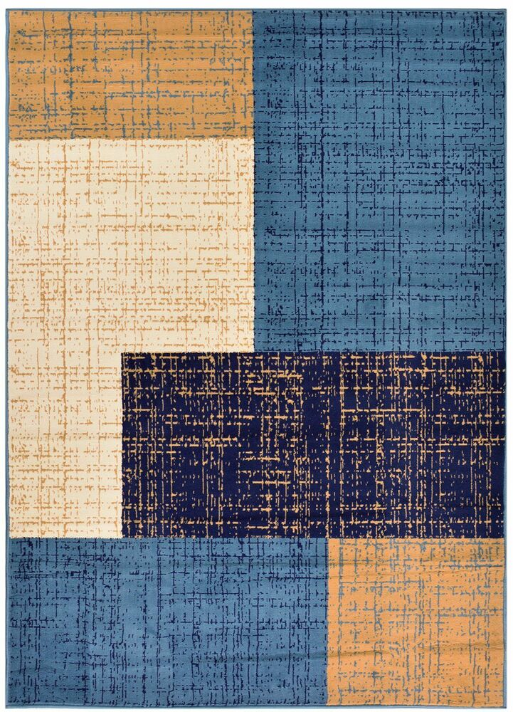 New Squares Navy Contemporary Area Rugs Carpet 2x3 2x7 3x5