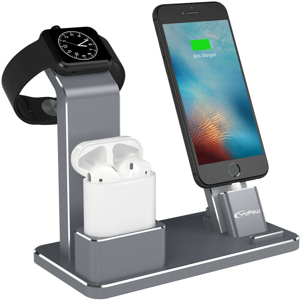 3ed8f16be4f Details about For Apple Watch Stand Airpods Accessories iPhone 8 Charger  Dock Station Aluminum