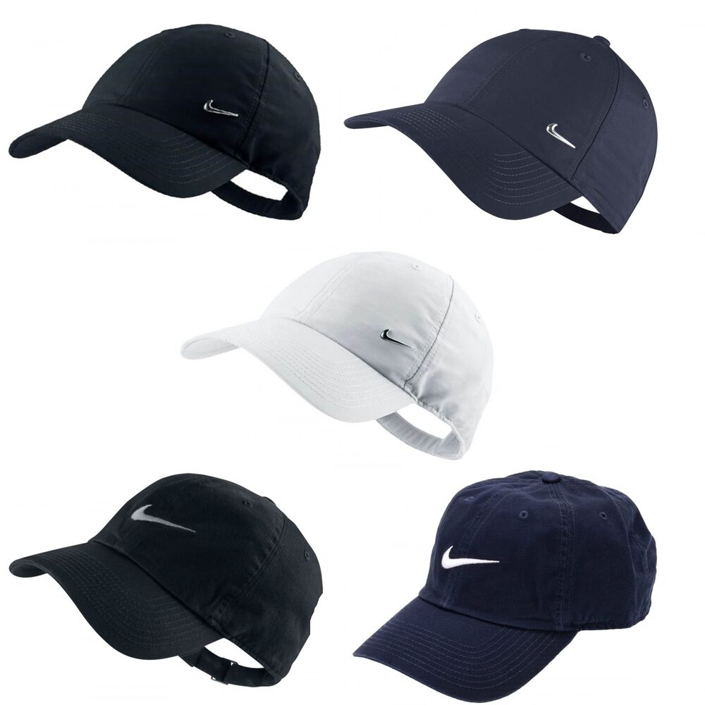 bc2a3a459b0 Details about Mens Nike Swoosh Metal Sports Cap Golf Baseball Adjustable  Hat White Navy Black