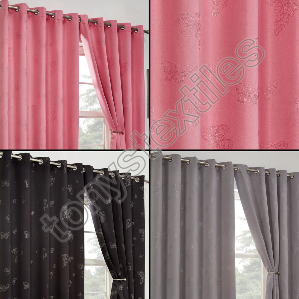 Thermal Blackout Diamante Butterfly Eyelet Ring Top Curtains Black Silver Purple Ebay