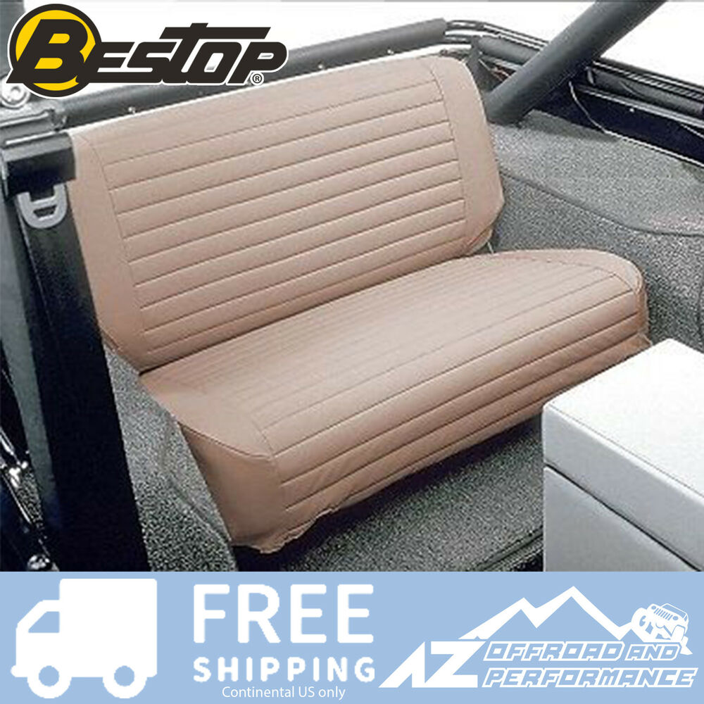 Jeep Wrangler Seat Covers >> Bestop Seat Cover Rear Bench Fold & Tumble 65-95 Jeep CJ5 CJ7 Wrangler YJ Tan | eBay