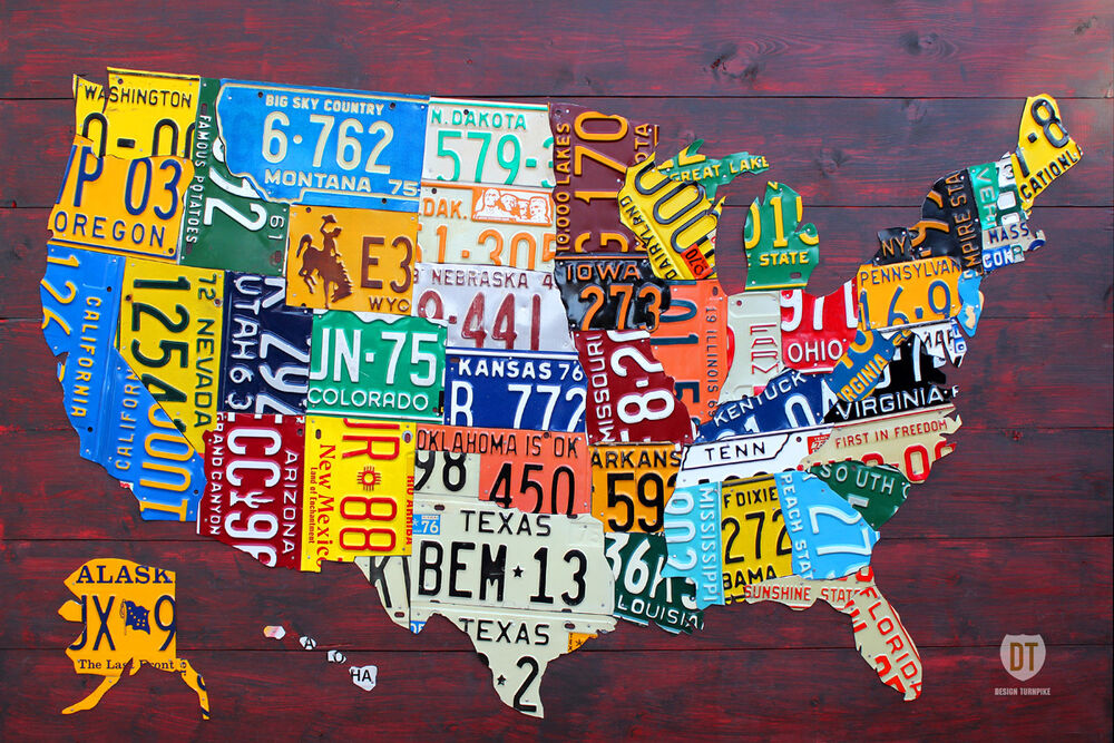 License Plate Map of The USA Recycled Metal Wall Decor Pub Man Cave