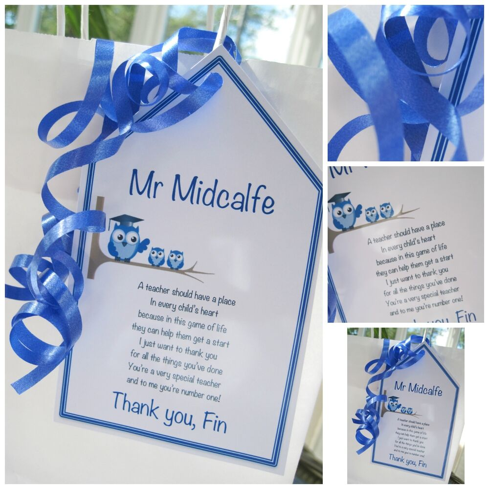1 x Personalised Thank You Teacher gift tag thank you poem teaching  assistant | eBay