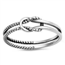.925 Sterling Silver Infinity Rope Fashion Ring Size 4-10 NEW