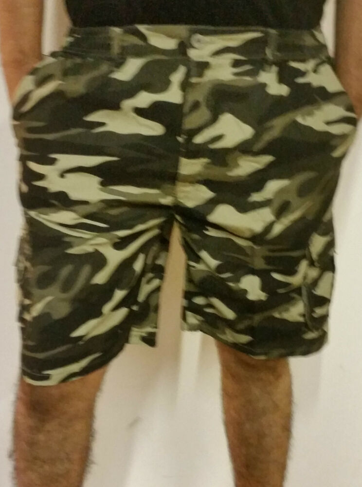 MENS CASUAL SUMMER CAMO CAMOUFLAUGE ARMY WOODLAND PRINTED COMBAT CARGO  SHORTS  ae2ad3ca69e6