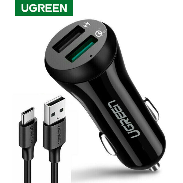 UGREEN Car Charger 5V3A Quick Charge 3.0 With Cable Dual USB Port Phone Charger