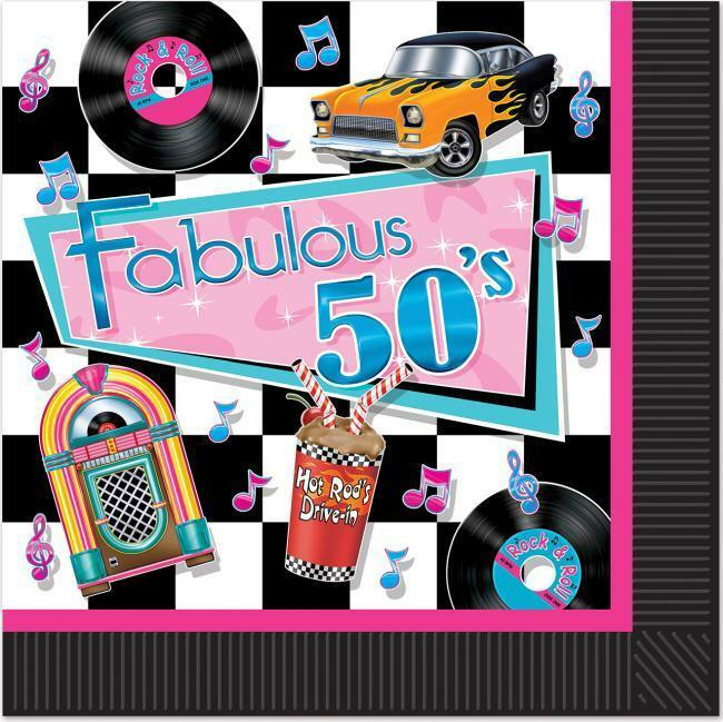 Fab 50 People: Fabulous 50's Lunch Napkins 16 Pack Jukebox 1950s Pink