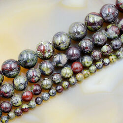 Kyпить Natural African Dragon  Bloodstone Gemstone Round Spacer Beads 16'' 4mm-12mm  на еВаy.соm