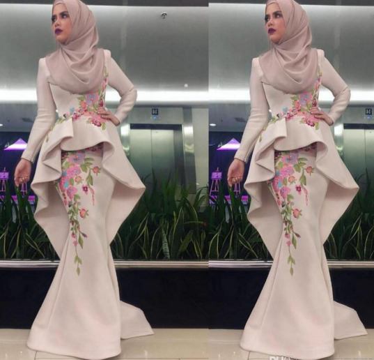 40a6da50d9e2 Details about Mermaid Muslim Evening Prom Dresses Hijab Long Sleeve  Embroidery Formal Dress
