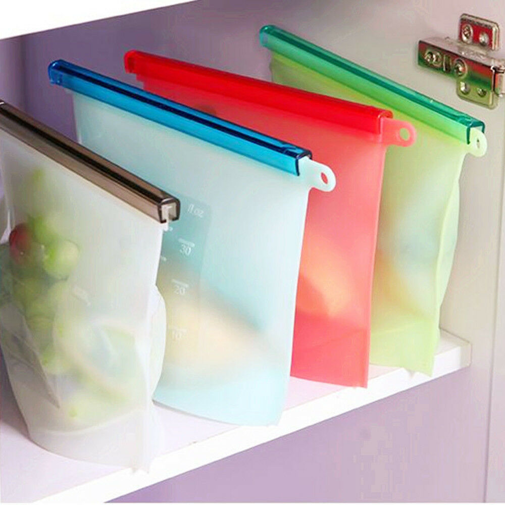 Reusable Vacuum Food Sealer Silicone Storage Bag Container Kitchen Fridge Bags Ebay