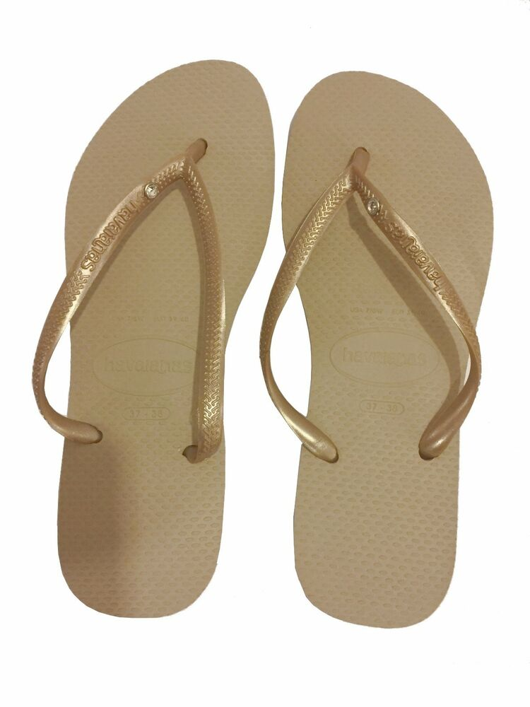 Details about Havaianas Slim Crystal Glamour Women s Flip Flops Sand color 663bbc9ee