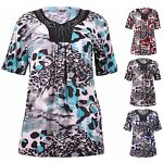 Womens Plus Size Top Short Sleeve Printed Diamante Neck Stretch Ladies T-Shirt