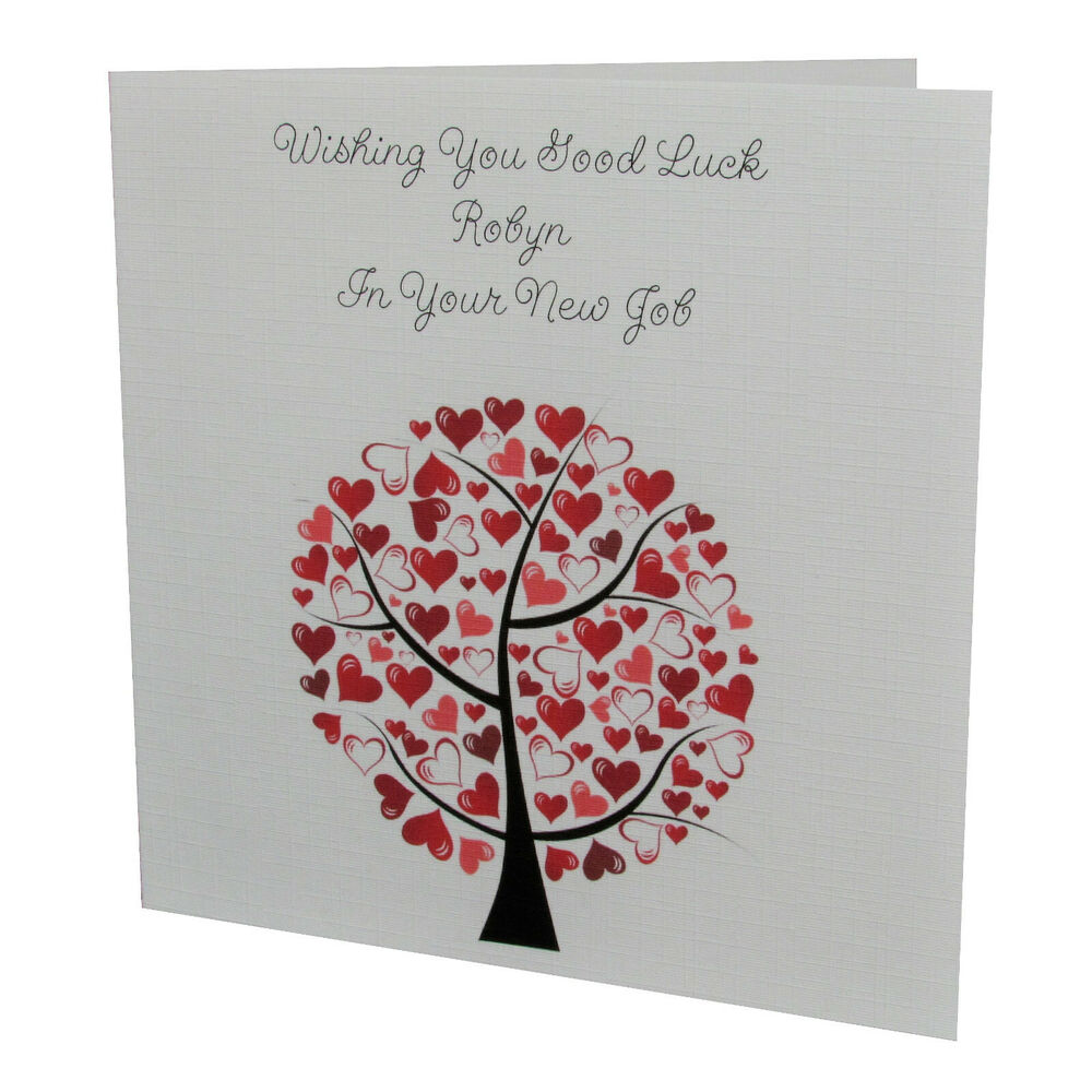 Good luck greeting cards ebay handmade personalised female love tree good luck in your new job card kristyandbryce Images
