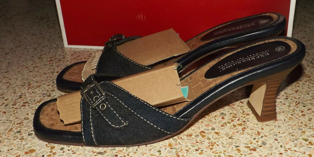 EXPRESSION FOOTWEAR WOMEN'S  OPEN TOE SLIP ON BLUE BLOCK SANDALS SHOES SIZE 9.5M