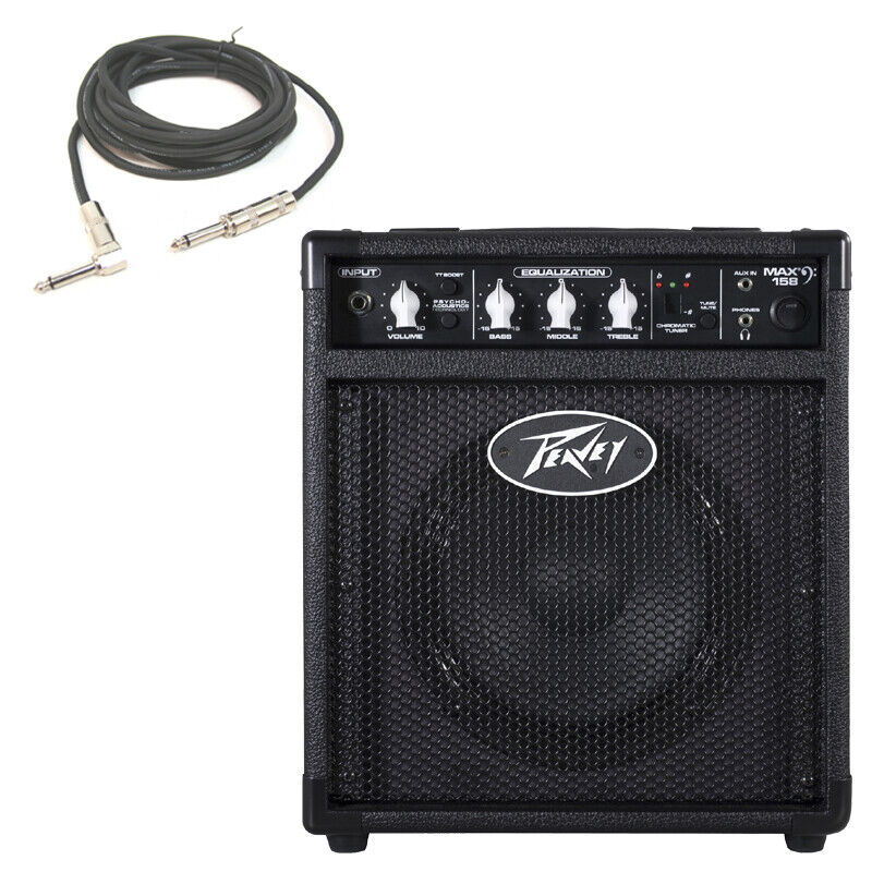 new peavey max 158 combo amp 20w 8 bass guitar amplifier 1 4 cable package ebay. Black Bedroom Furniture Sets. Home Design Ideas