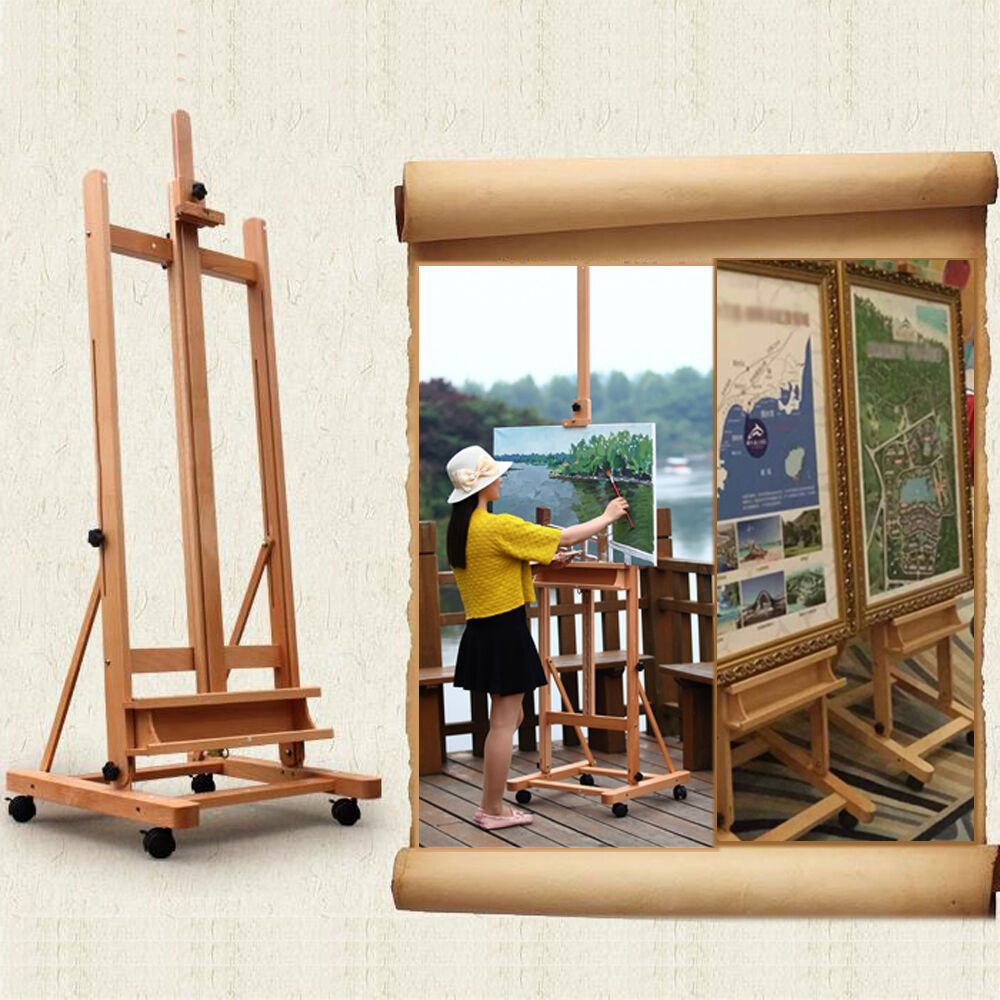 Portable Artist Durable Wooden Easel 360 H Frame W Caster