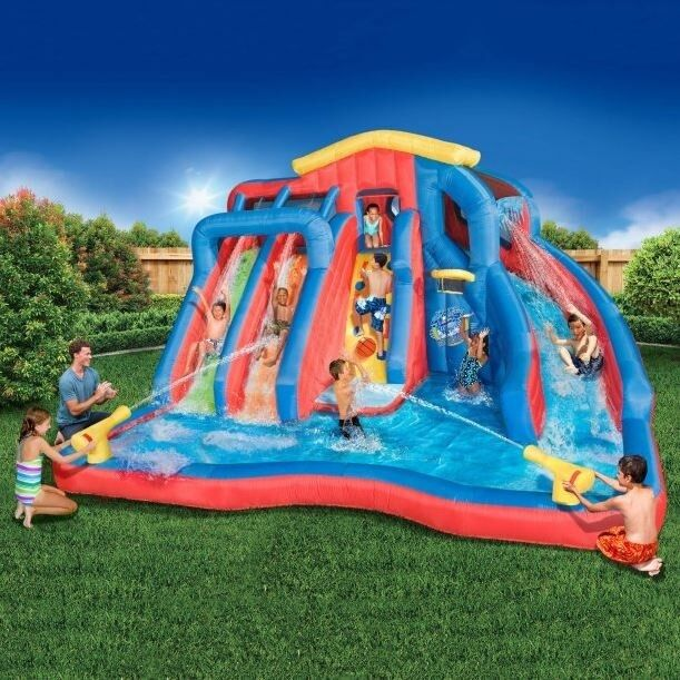 Inflatable Pool Slide Uk: Pool With Water Slide For Kids Large Inflatable Splash