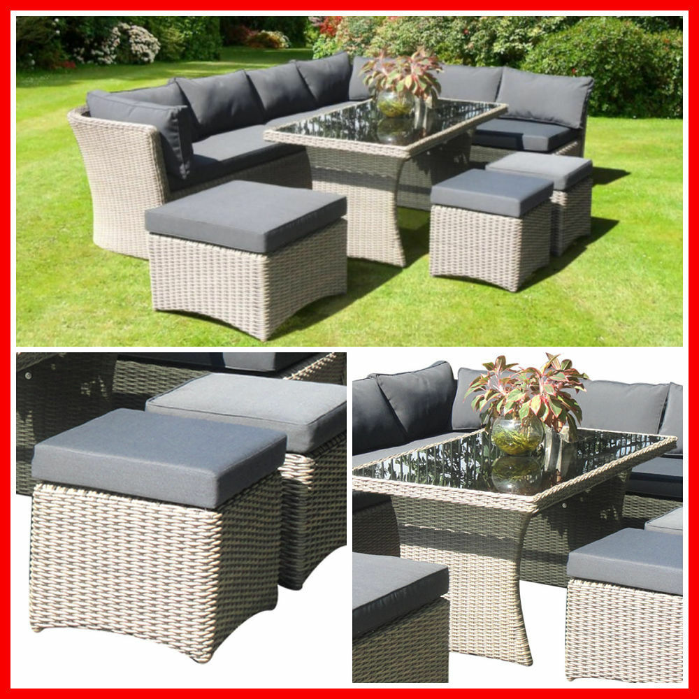 Details about wicker 5 piece outdoor furniture set table corner lounge setting garden