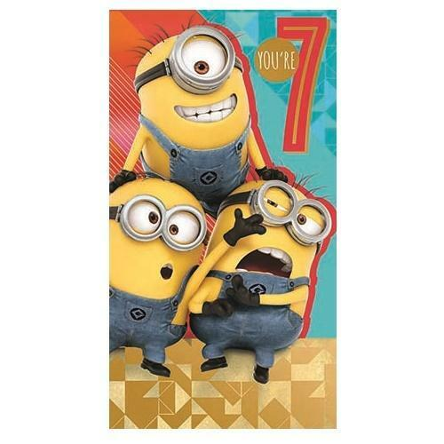 Details About DESPICABLE ME 3 YOURE 7 TODAY 7TH BIRTHDAY CARD MINIONS NEW GIFT