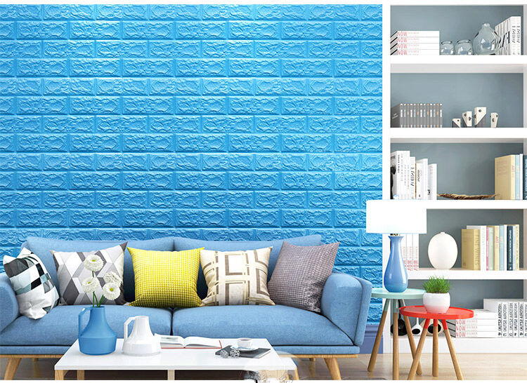 3d Foam Wall Panels Self Adhesive Removable Brick Blue