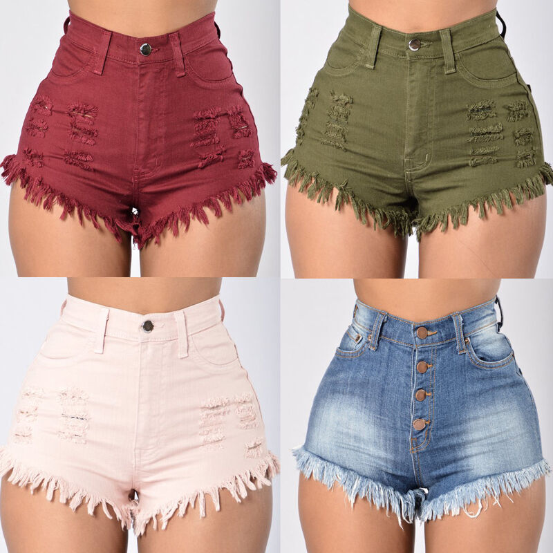 US Summer Women Casual High Waisted Short Mini Jeans Ripped Jeans Shorts Pants | eBay