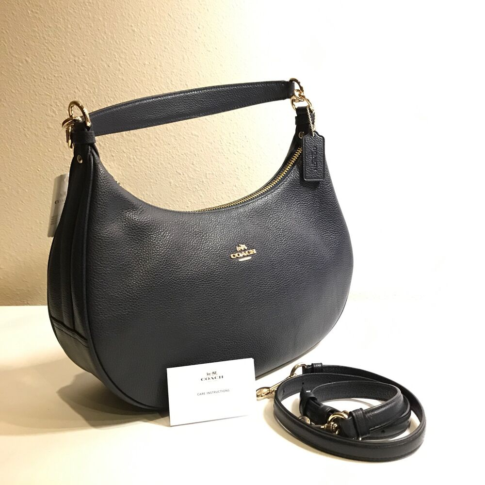 e84dba45be Details about COACH F38250 WOMEN HANDBAG HARLEY EAST/WEST HOBO IN PEBBLE  LEATHER Midnight Blue