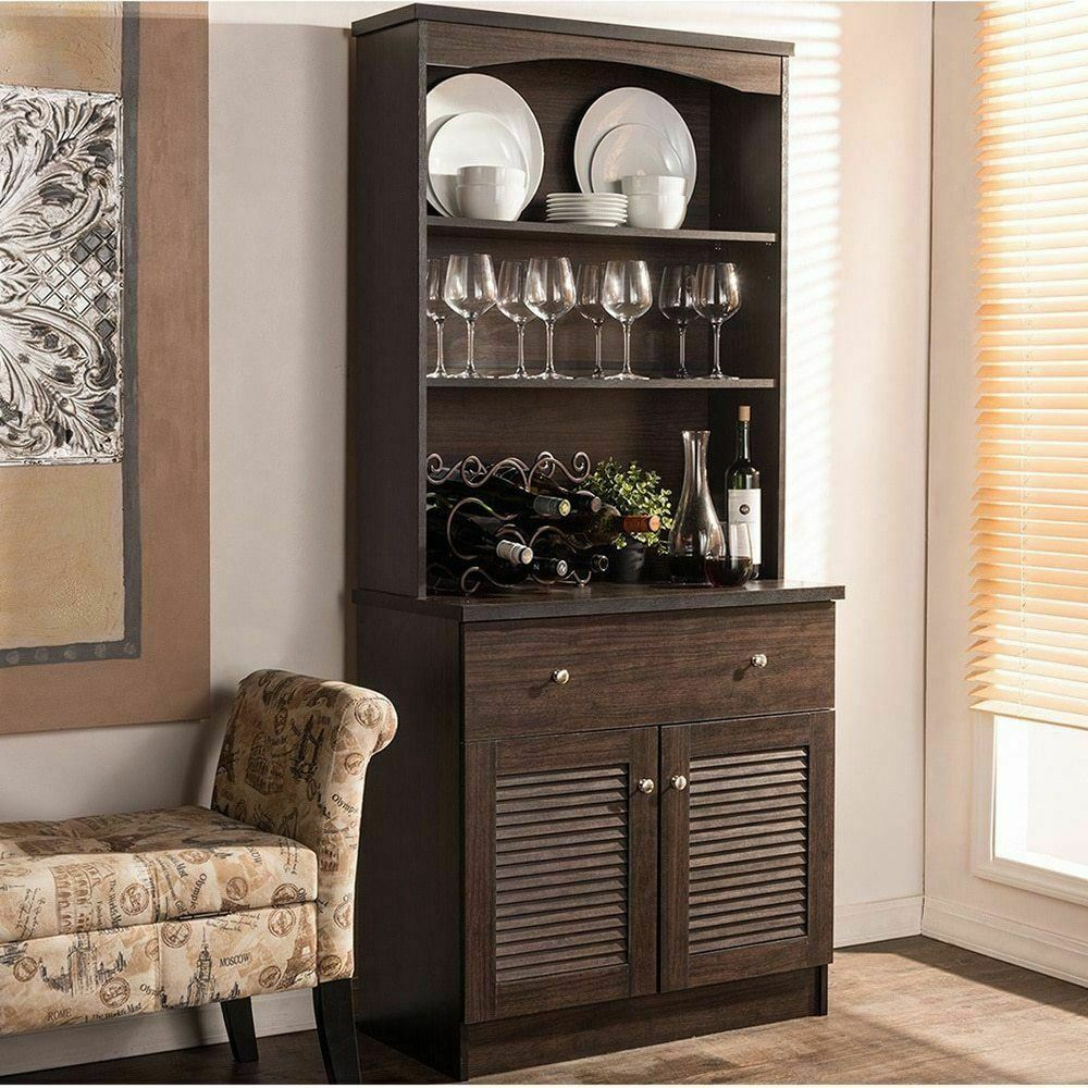 Espresso Buffet Microwave Kitchen Storage Cabinet Cupboard ...