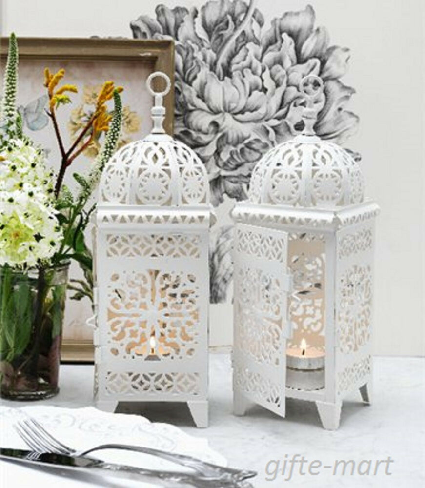 8 lot white Moroccan scrollwork Lantern Candle holder ...