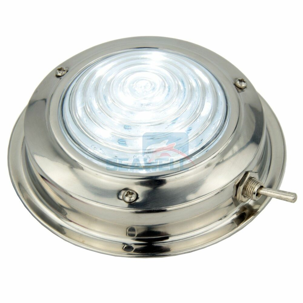 "12V 4.5"" Stainless Steel LED Dome Light Cool White Boat RV"
