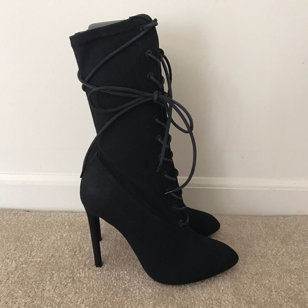 Fashionable Sale Online Discount Best Place Black Lace-Up Ankle Boots Yeezy by Kanye West yE8ljvNK