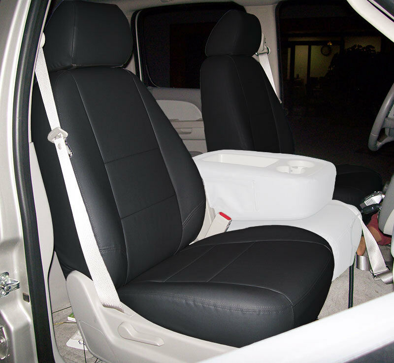 Chevy Silverado 2007 2013 Black Iggee S Leather Custom Front Seat Cover Ebay