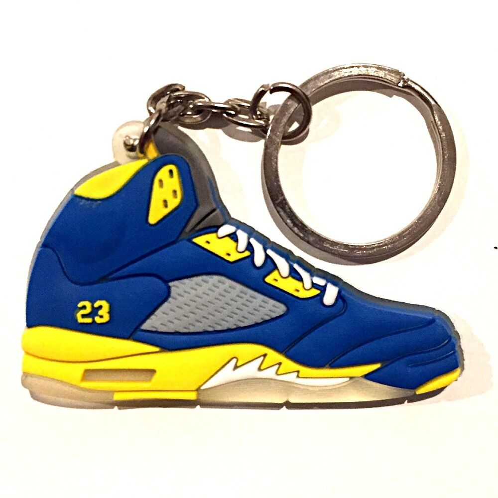 5cf199b6abe2 Details about AIR JORDAN V 5 RETRO SHANGHAI LANEY BLUE SUPREME OG SNEAKER SHOES  KEY CHAIN RING