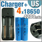 4 x 18650 3.7V 4200mAh Li-ion Rechargeable battery + AA AAA Charger 1206W US