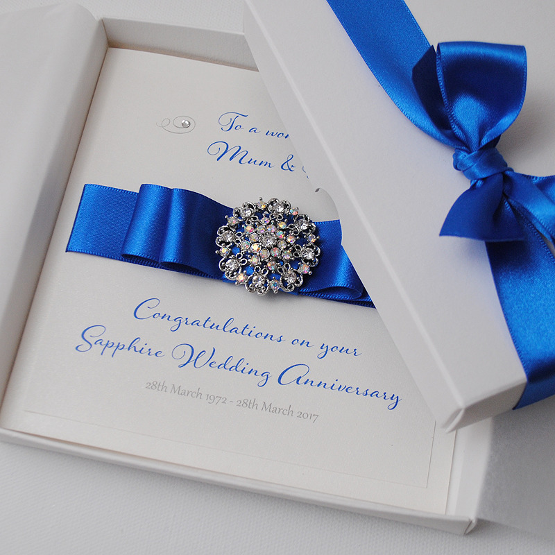 Details About LUXURY Sapphire 45th 65th Wedding Anniversary Personalised Handmade Boxed Card