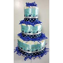 3 Tier Diaper Cake - Blue and White Whale and Polka Dot Boy Cake