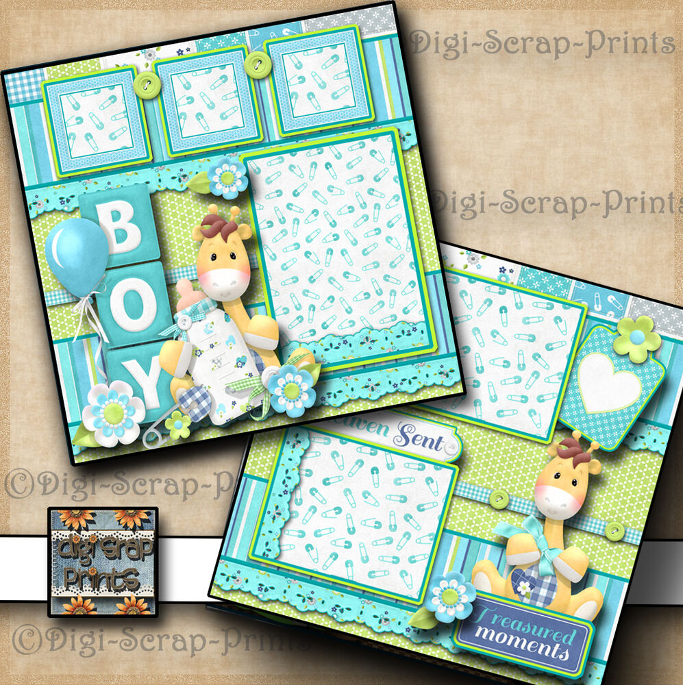 2 Premade Scrapbook Pages Paper Piecing Layout