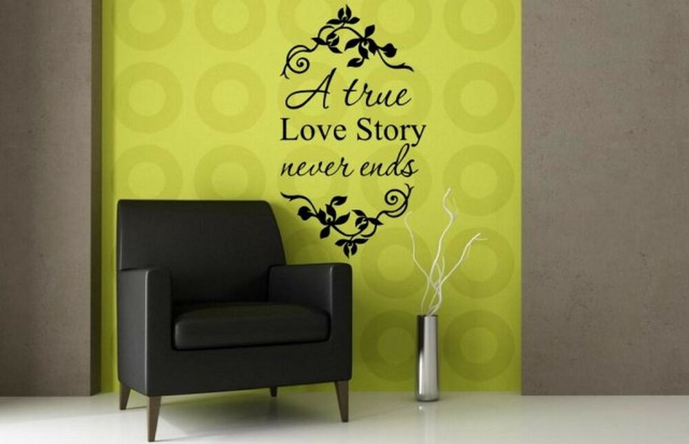a true love story never ends inspirational wall quote wall sticker