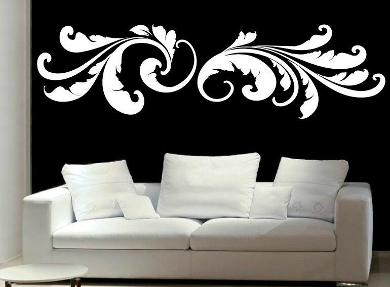 magic floral feathers sticker wall decal vinyl decor stylish art