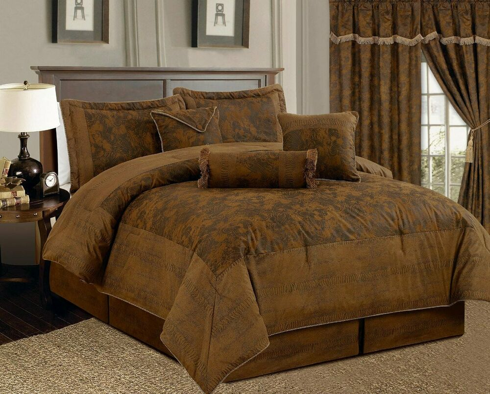 Details about full queen cal king bed brown camel rustic paisley faux suede 7 pc comforter set