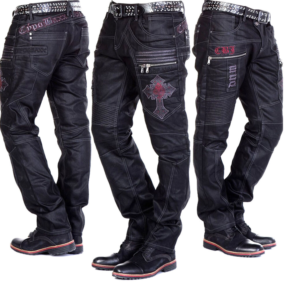 cipo baxx herren jeans biker hose gewachste leder optik. Black Bedroom Furniture Sets. Home Design Ideas